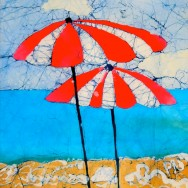 Beach Brollies 11x14 Giclee on Canvas