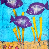 Three Purple Fish 11x14 Giclee on canvas