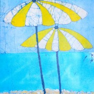 Yellow Brollies 11x14  Giclee on Canvas