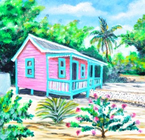 """Cayman Cottage 1 -  CI $ 65.00 , 11""""x 11"""" , Print on Matt board , Limited Edition Only"""