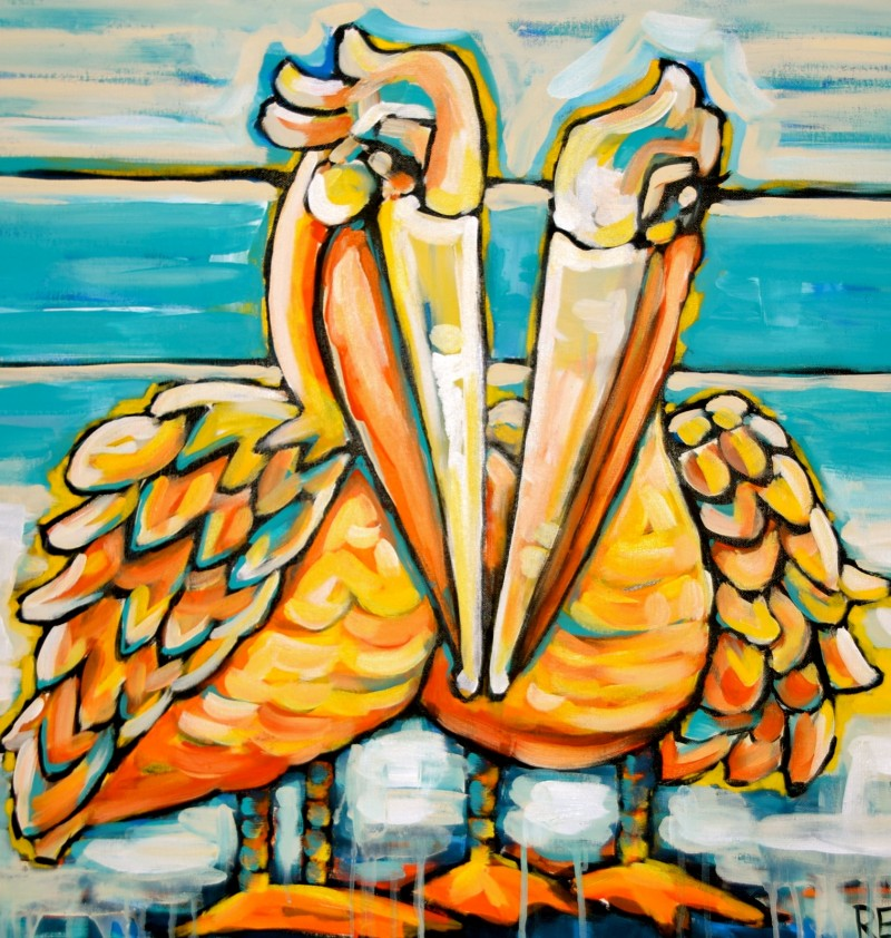Pelican Love 30x30 Acrylic On Canvas