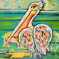 Island Pelican 30x30 Acrylic On Canvas