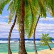 Cayman Brac Beach Calm 48x36 Oil On Canvas