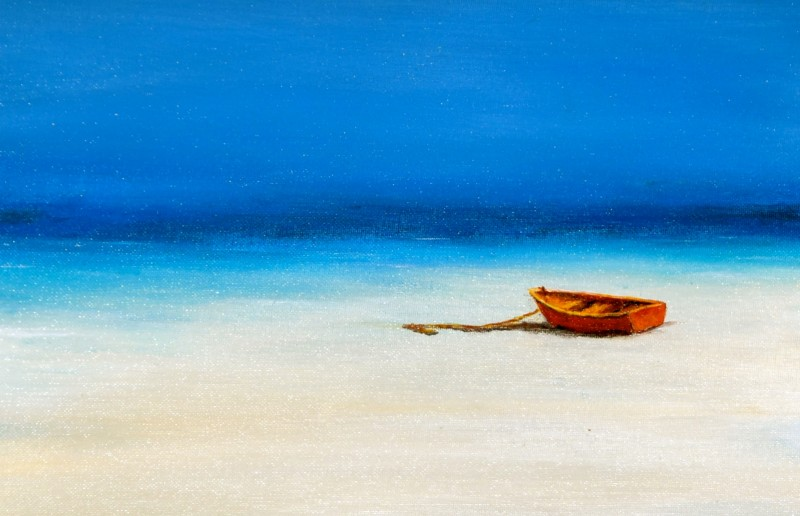 Little Red Boat  14 1/ 2 x 18  Acrylic On Canvas