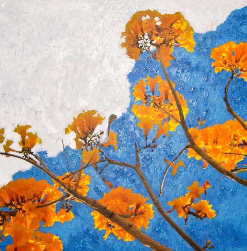 Yellow Birch 1 24x24 Acrylic On Canvas