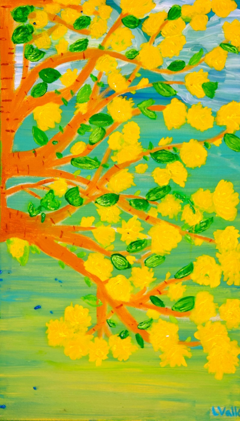 Yellow Blooms 14x23 Acrylic On canvas