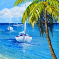 Caribbean Calm 14x28 Acrylic On Canvas