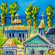 Cayman houses # 1 11x14 Embellished Giclee