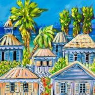 Cayman Houses #3 14x11 Embellished Giclee