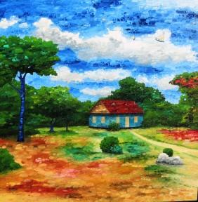 Custard Top Cornbread 4x4 Oil On Canvas